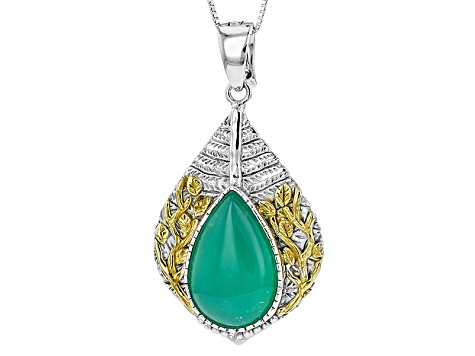 Pre-Owned Green Chrysoprase Two-Tone Sterling Silver Enhancer With Chain