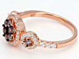 Pre-Owned Mocha And White Cubic Zirconia 18k Rose Gold Over Sterling Silver Ring 1.28ctw