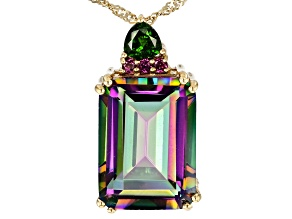Pre-Owned Multi-Color Quartz 18k Yellow Gold Over Sterling Silver Pendant With Chain 12.88ctw