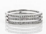 Pre-Owned White Diamond Rhodium Over Sterling Silver Ring 0.25ctw