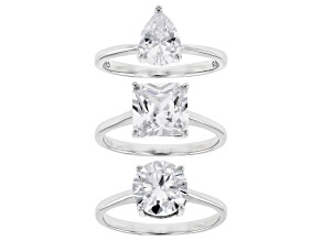 Pre-Owned White Cubic Zirconia Rhodium Over Sterling Silver Rings Set of 3 13.62ctw