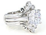Pre-Owned White Cubic Zirconia Rhodium Over Sterling Silver Center Design Ring with Band 7.34ctw