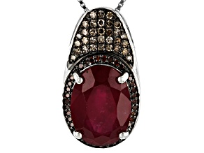 Pre-Owned Red Mahaleo(R) ruby rhodium over silver pendant with chain 7.21ctw