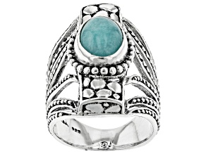 Pre-Owned Blue Amazonite Silver Ring