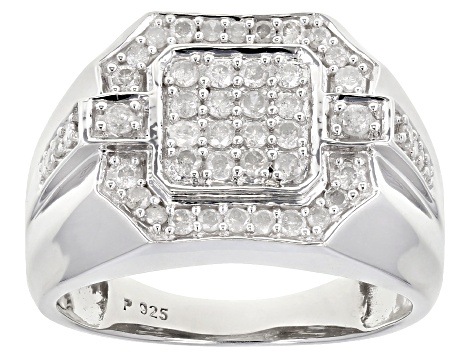 Pre-Owned White Diamond Rhodium Over Sterling Silver Gents Ring 0.70ctw