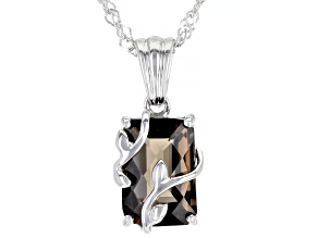 Pre-Owned Brown Smoky Quartz Sterling Silver Pendant With Chain 3.65ct