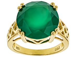 Pre-Owned Green Onyx 18k Gold Over Silver Ring