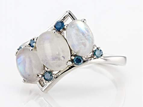 Pre-Owned White rainbow moonstone rhodium over silver ring .11ctw