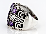Pre-Owned Purple Cubic Zirconia Rhodium Over Sterling Silver Ring 5.91ctw