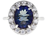 Pre-Owned Blue Petalite Rhodium Over Silver Ring 3.29ctw