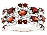Pre-Owned Red garnet rhodium over sterling silver band ring 2.33ctw
