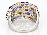 Pre-Owned Multi-gemstone rhodium over silver band ring 4.65ctw