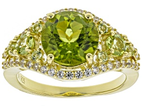 Pre-Owned Green peridot 18k gold over silver ring 3.39ctw
