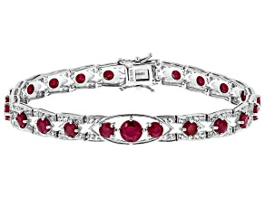 Pre-Owned Red ruby rhodium over silver bracelet 10.32ctw