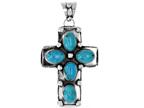 Pre-Owned Southwest Style By JTV™ Kingman Turquoise Silver Cross Pendant