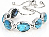 Pre-Owned Blue turquoise rhodium over silver bracelet