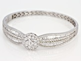 Pre-Owned White Cubic Zirconia Rhodium Over Sterling Silver Cluster Bracelet 11.46ctw