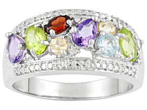 Pre-Owned Mixed-Gem Rhodium Over Silver Band Ring 2.42ctw