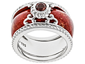 Pre-Owned Red Sponge Coral Rhodium Over Silver 2-Ring Set .34ct