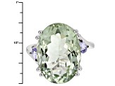 Pre-Owned Green Prasiolite Sterling Silver Ring 12.35ctw