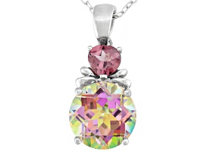 Pre-Owned Cosmopolitan Beyond™ Mystic Topaz® Silver Pendant With Chain 4.14ctw