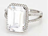 Pre-Owned White Cubic Zirconia Rhodium Over Sterling Silver Center Design Ring 10.14ctw