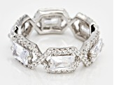 Pre-Owned White Cubic Zirconia Rhodium Over Sterling Silver Band Ring 7.74ctw