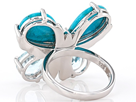 Pre-Owned Blue turquoise rhodium over silver butterfly ring 6.29ctw