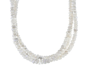 Pre-Owned Rainbow Moonstone Bead Strand Silver Necklace