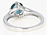 Pre-Owned Blue chromium kyanite rhodium over silver ring 1.57ctw