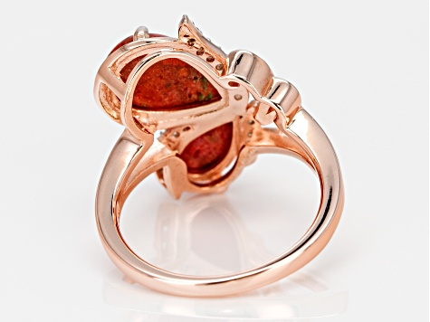 Pre-Owned Red sponge coral 18k rose gold over silver butterfly ring .05ctw