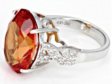 Pre-Owned Orange Lab Created Padparadscha Sapphire Rhodium Over Sterling Silver Ring 16.75ctw