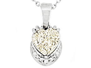 Pre-Owned Silver Color Drusy Quartz Sterling Silver Pendant With Chain .04ctw