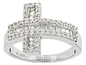 Pre-Owned Cubic Zirconia Rhodium Over Sterling Silver Cross Ring 1.13ctw (.74ctw DEW)