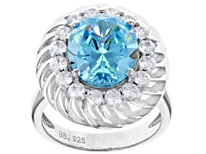 Pre-Owned Blue And White Cubic Zirconia Rhodium Over Sterling Silver Ring 9.59CTW