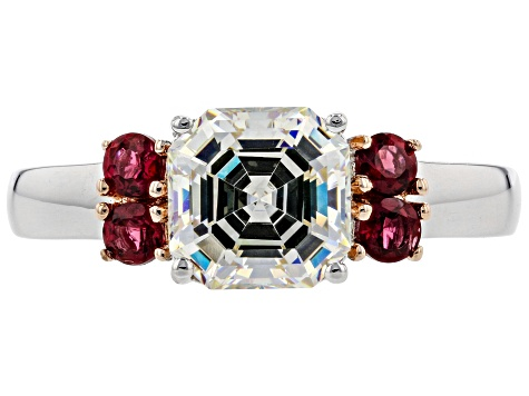 Pre-Owned Fabulite Strontium Titanate And Red Spinel Rhodium Over Sterling Silver Ring 3.00ctw.