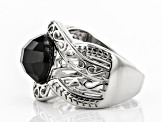 Pre-Owned Black spinel rhodium over sterling silver ring 4.07ct