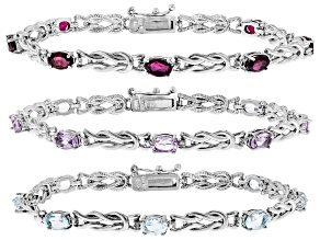 Pre-Owned Amethyst, Topaz & Garnet Rhodium Over Silver Set of 3 Bracelets 12.03ctw