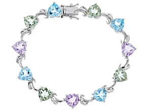 Pre-Owned Multi-gemstone rhodium over silver bracelet 16.96ctw