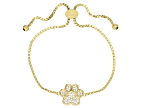 Pre-Owned White Cubic Zirconia 18k Yellow Gold Over Sterling Silver Adjustable Paw Print Bracelet 0.
