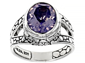 Pre-Owned Purple Lavender Moon Quartz Silver Ring 3.06ct