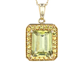Pre-Owned Green Diaspore 14k Yellow Gold Pendant With Chain 3.29ctw