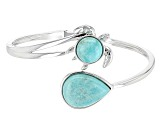 Pre-Owned Blue Amazonite Sterling Silver Turtle Bypass Bangle Bracelet