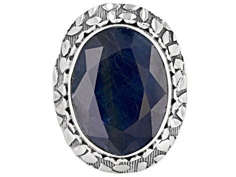 Pre-Owned Blue Sapphire Silver Solitaire Ring 16.00ct