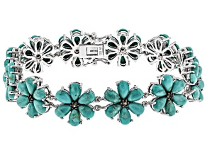 Pre-Owned Blue turquoise rhodium over silver bracelet .23ctw