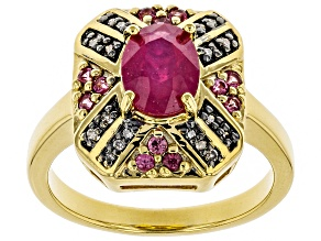 Pre-Owned Red Ruby 18k Gold Over Silver Ring 1.79ctw