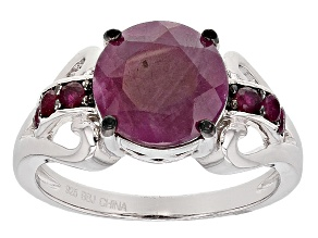Pre-Owned Red Ruby Sterling Silver Ring 4.29ctw