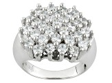 Pre-Owned White Cubic Zirconia Rhodium Over Sterling Silver Ring 5.48ctw