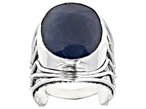 Pre-Owned Blue Sapphire Sterling Silver Solitaire Ring 16.00ct