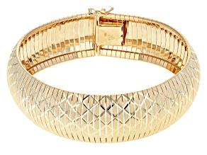 Pre-Owned 18k Yellow Gold Over Bronze Diamond Cut Flex Bangle 6.75 inch